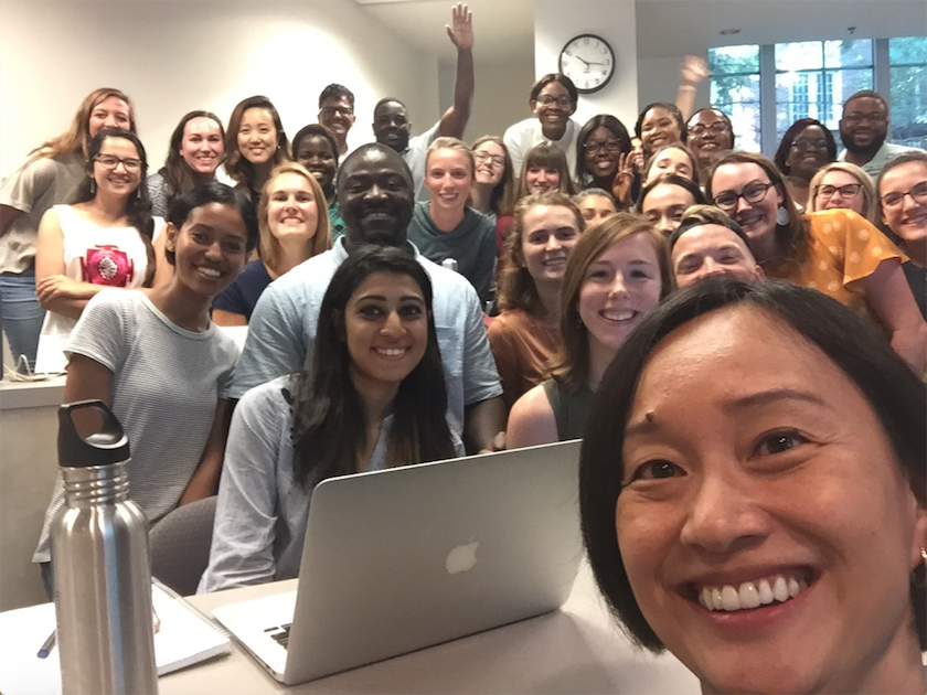 Dr. Jennifer Huang Bouey takes selfie with class.