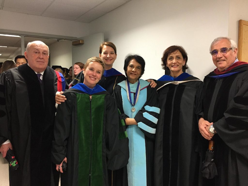 Drs. May, Adams, Vuckovic, McCulloch, Jarawan, and Turbat pose for a photo before 2018 Commencement.