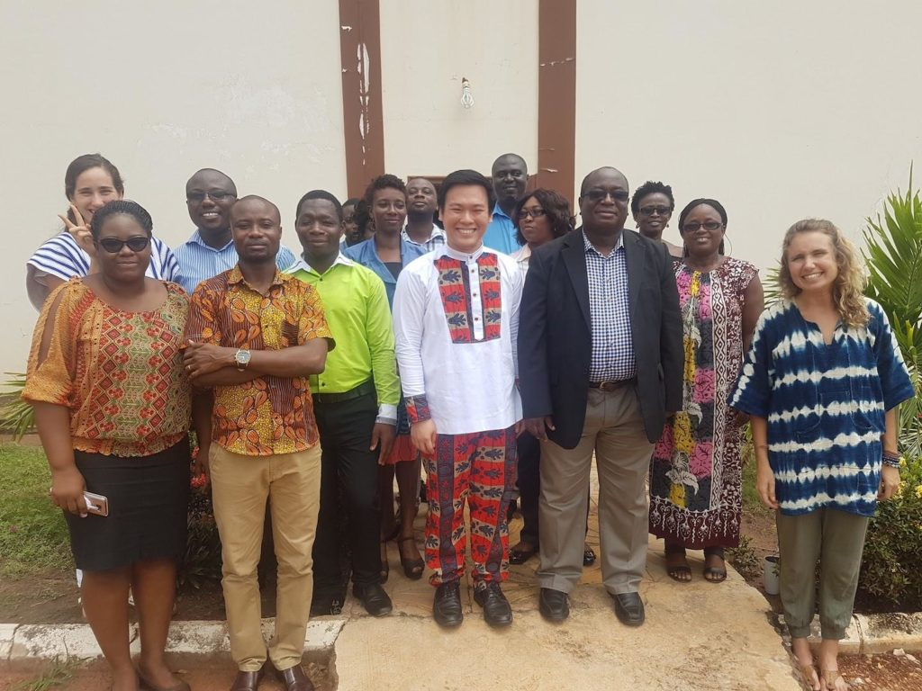 "Nel ""Jason"" Haw poses with research colleagues in Dodowa, Ghana."