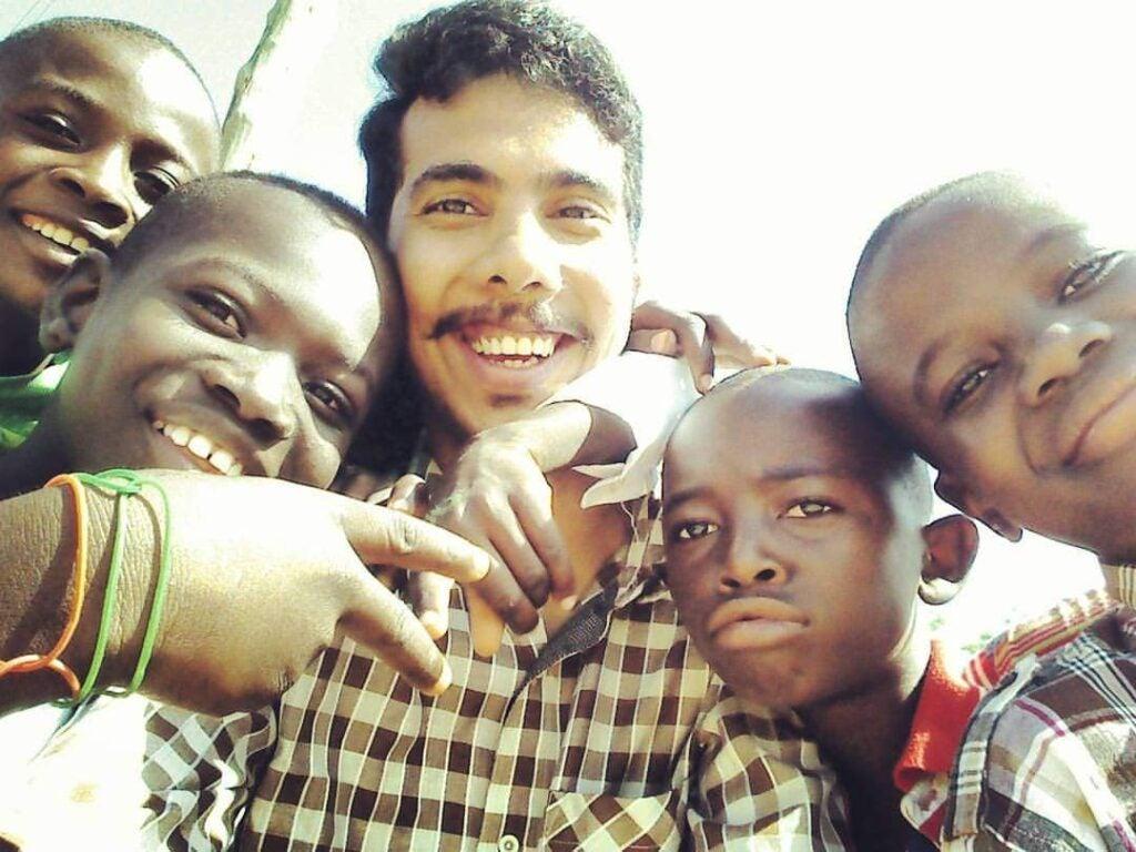 Meghashish Sharma with children in Navrongo, Ghana